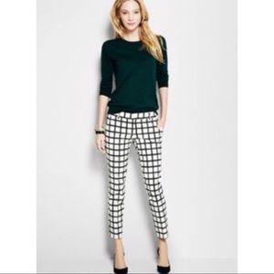 J. Crew Black and White Windowpane Skinny Pants
